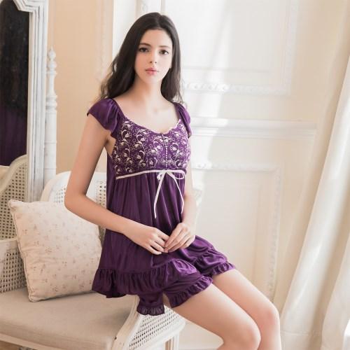 柔緞睡衣短褲二件組 紫L-2L 大尺碼 Naya Nina
