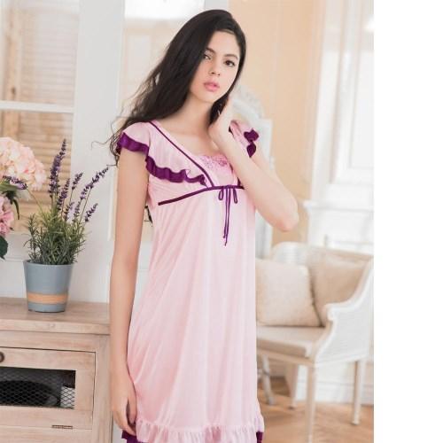 荷葉小蓋袖柔緞睡衣 粉紫 L-2L 大尺碼 Naya Nina