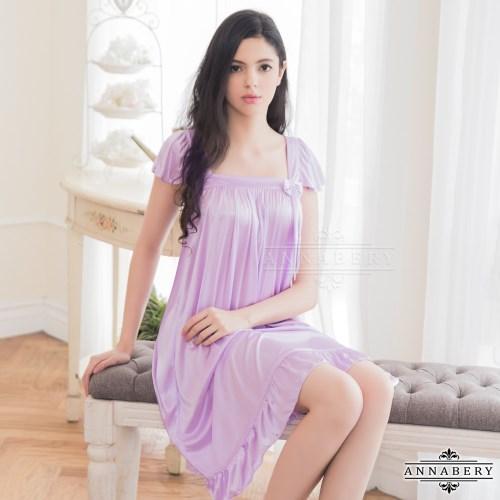 浪漫粉紫小蓋袖柔緞睡衣 紫色 L-2 大尺碼 Naya Nina