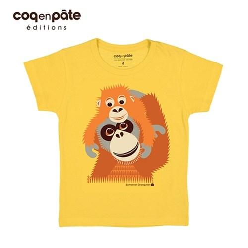 【COQENPATE】法國有機棉童趣 短袖 T-SHIRT - 紅毛猩猩