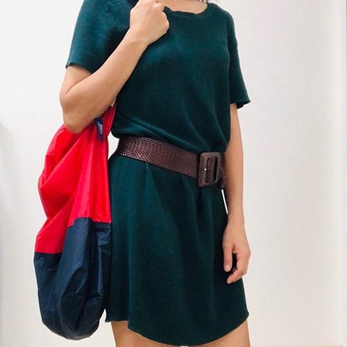 美國July Nine壽司包 (大)收納式時尚托特包 (肩背雙色版) 正紅x深藍