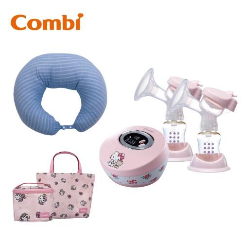 日本Combi Hello Kitty限量版雙邊電動吸乳器 加多功能哺乳靠墊、Kitty大提袋、主機收納方包