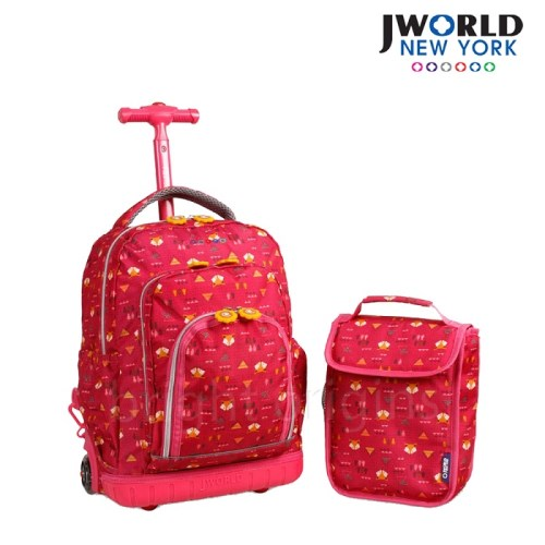 【JWorld】拉桿後背兩用書包旅行箱(小紅狐狸)