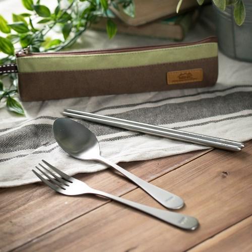 抗菌不鏽鋼餐具組(含帆布筷袋)