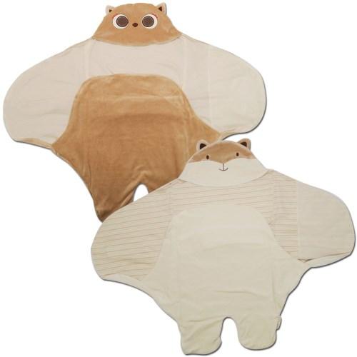 100%有機棉【Organic】懶人包巾、嬰兒包巾禮盒(狐狸、貓頭鷹)