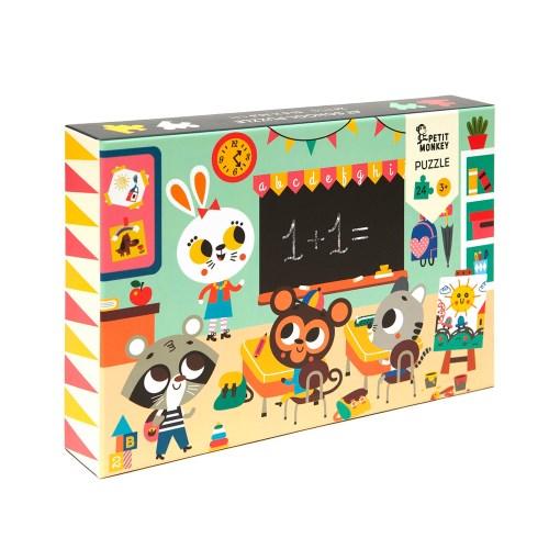 荷蘭Petit Monkey 歡樂校園拼圖(24片3Y+)