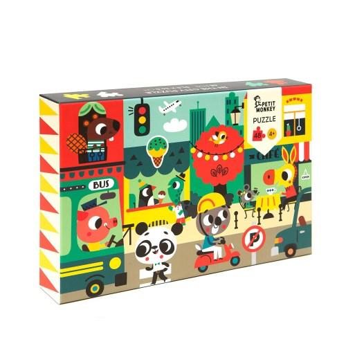 荷蘭Petit Monkey 歡樂城鎮拼圖(48片4Y+)