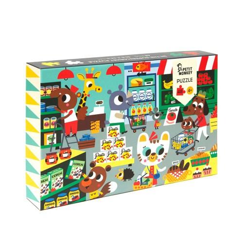 荷蘭Petit Monkey 歡樂超級市場拼圖(48片4Y+)