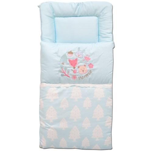 【vivibaby】夢幻森林嬰兒抱袋-抱嬰袋-嬰兒抱被-嬰兒睡袋(藍-粉)