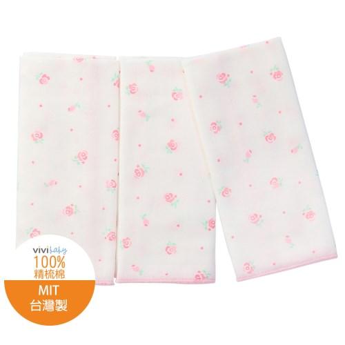 【vivibaby】玫瑰花園精梳棉超柔紗布手帕(粉)