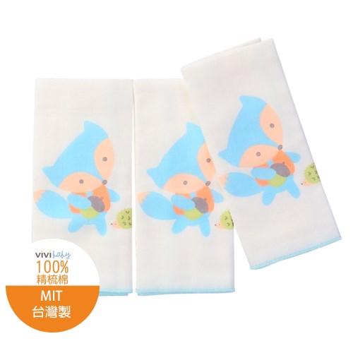 【vivibaby】小狐狸精梳棉超柔紗布手帕(藍)