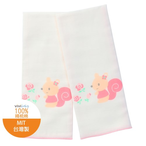 【vivibaby】小松鼠精梳棉超柔紗布澡巾(粉)