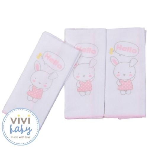 【vivibaby】艾瑪兔純棉紗布手帕(粉)