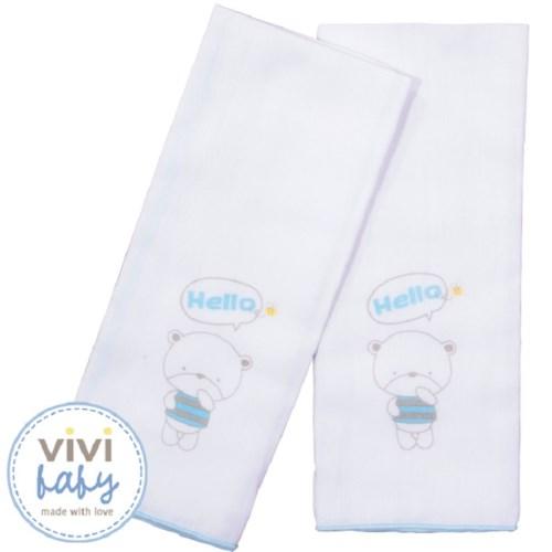 【vivibaby】托比熊純棉紗布澡巾(藍)