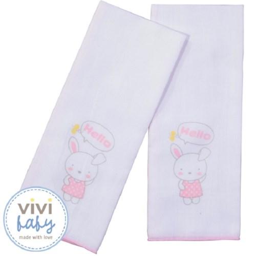 【vivibaby】艾瑪兔純棉紗布澡巾(粉)