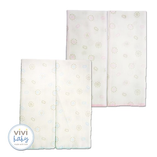 【vivibaby】貝殼花純棉紗布澡巾(藍or粉)