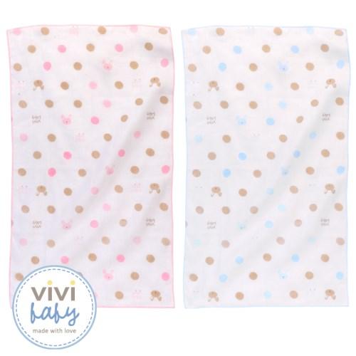 【vivibaby】粉彩泡泡純棉紗布澡巾2入(藍or粉)