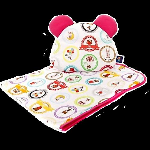Cuddly Zoo 我愛爸媽-粉 超柔親膚枕毯組 波蘭製