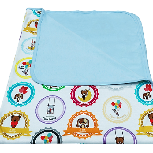 Cuddly Zoo 我愛爸媽-藍 超柔親膚枕毯組 波蘭製