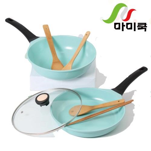 【韓國mami.cook】陶瓷晶鑽浪漫不沾鍋7件組(雙鍋特惠組 蒂芬妮原廠限定色號)