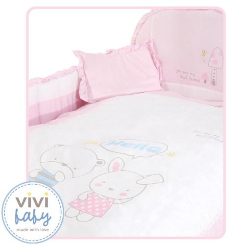 【vivibaby】快樂長頸鹿床or多功能床+寢具八件組(粉or藍)