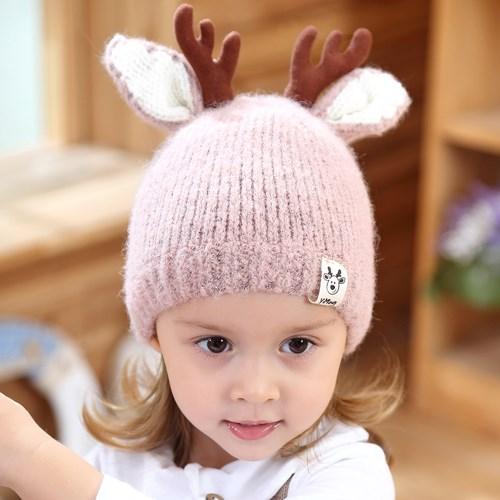 【Kori Deer 可莉鹿】麋鹿角嬰兒童秋冬加厚針織毛線帽
