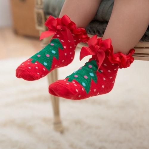 日安朵朵 聖誕女寶寶花邊襪子2雙組(聖誕樹+聖誕老人)