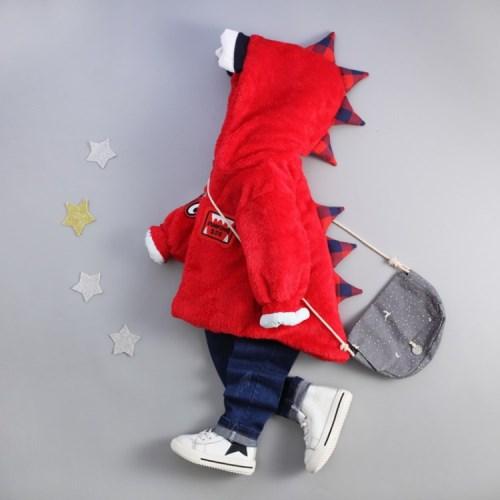【Kori Deer 可莉鹿】小恐龍兒童保暖珊瑚絨連帽外套保暖聖誕麋鹿毛線針織長袖連身衣