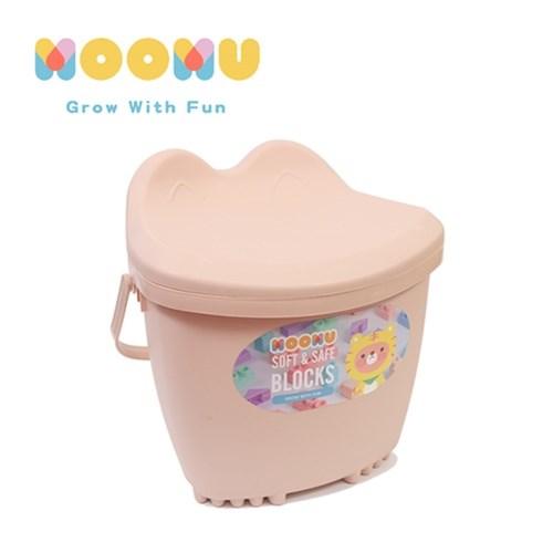 【MOOMU】馬卡龍香草軟積木 120pcs 收納桶裝組 - 粉色/藍色