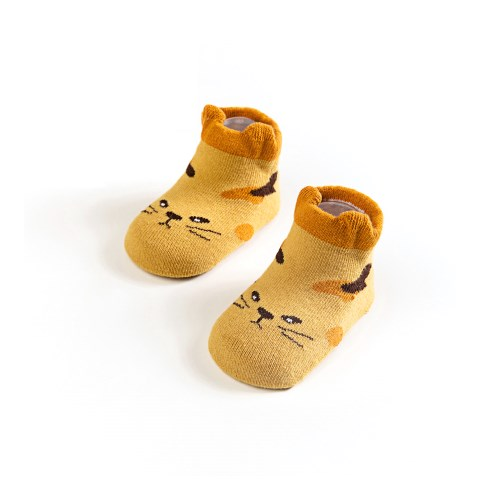 【4雙】兒童襪短襪卡通立體動物船襪地板襪鬆口印花襪