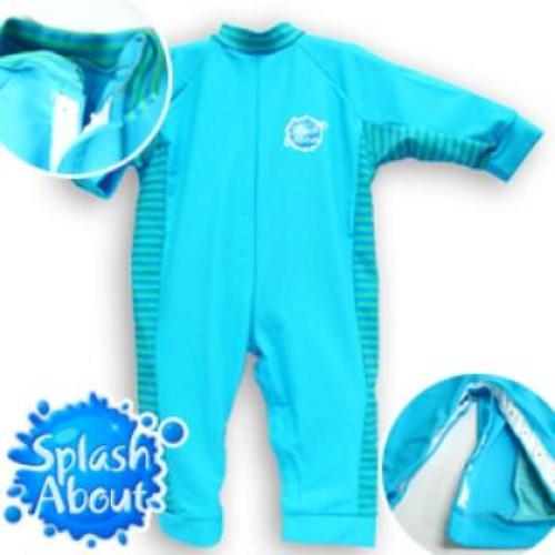 《Splash About 潑寶》UV All in One 嬰兒抗 UV 連身泳衣 - 水藍 / 珊瑚綠條紋