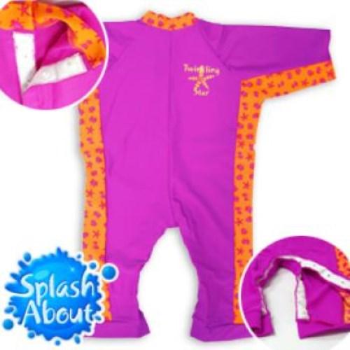 《Splash About 潑寶》UV All in One 嬰兒抗 UV 連身泳衣 - 桃紅 / 水族剪影