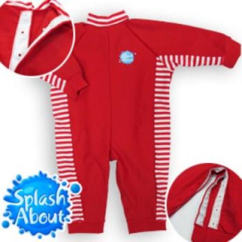 《Splash About 潑寶》UV All in One 嬰兒抗 UV 連身泳衣 - 紅 / 紅白條紋